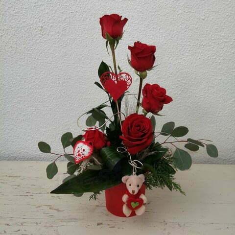 Arranjo Rosas Vermelhas e ursinho