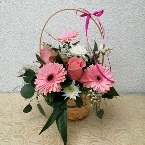 Cesta de flores Tons Rosa