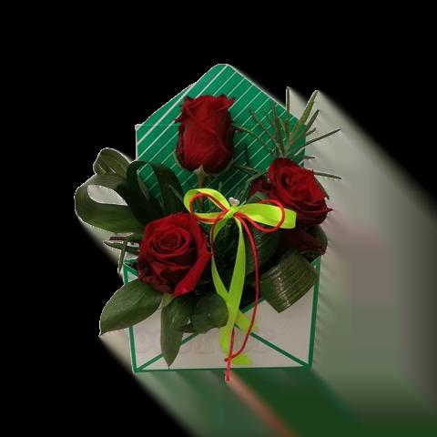 Caixa envelope com rosas