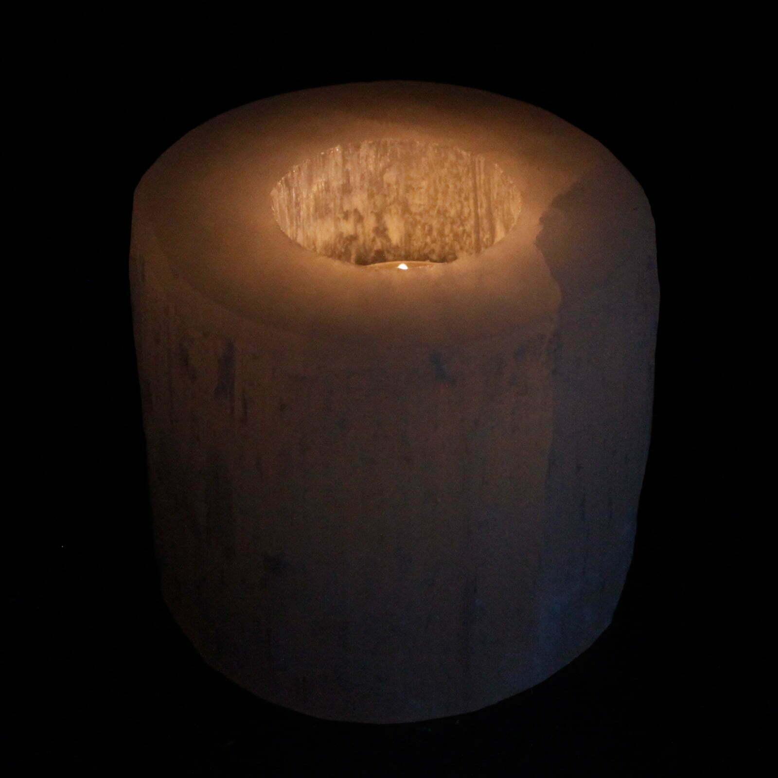 Candelabro de cilindro selenite- 8 cm