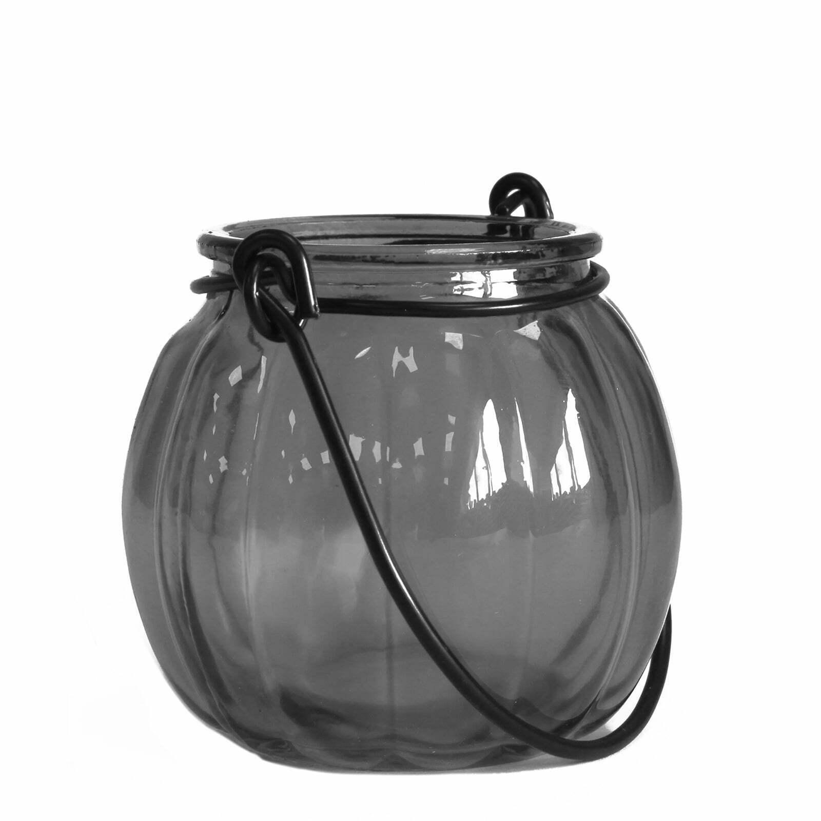 Lanterna para velas vidro reciclado abóbora – Cinza