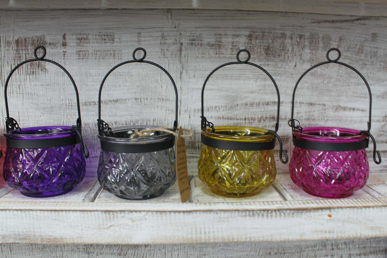 Lanterna para velas vidro reciclado abóbora – lavanda