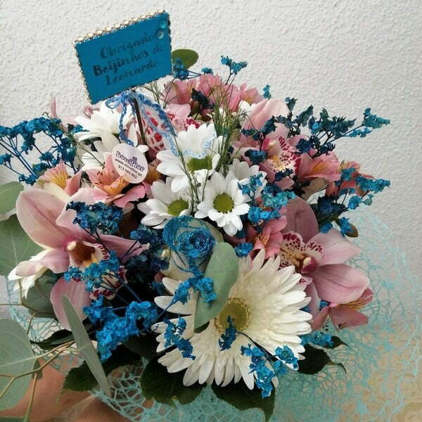 Bouquet Azul e Rosa